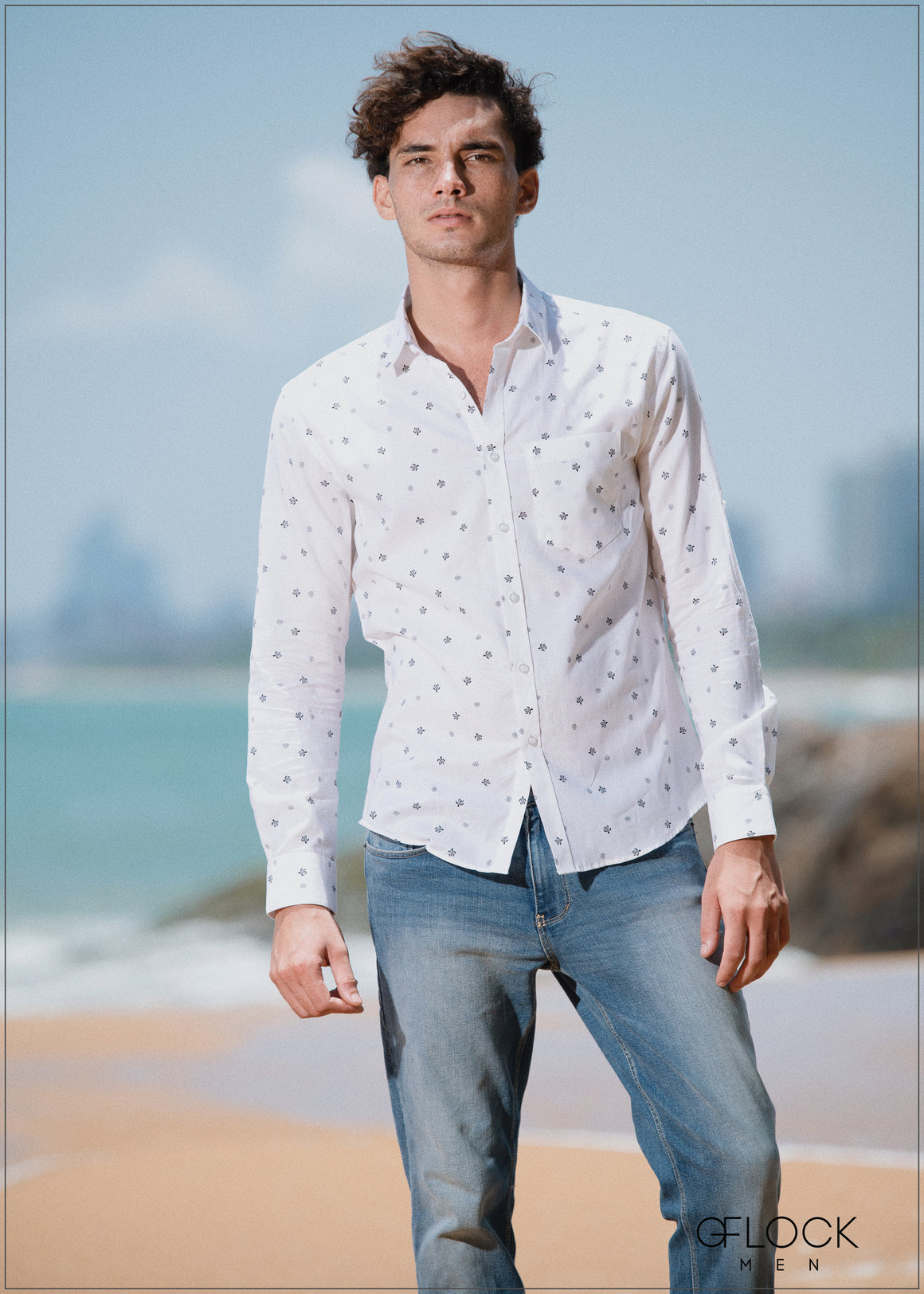 Printed Rolled Up Sleeve Shirt - Men MS1105