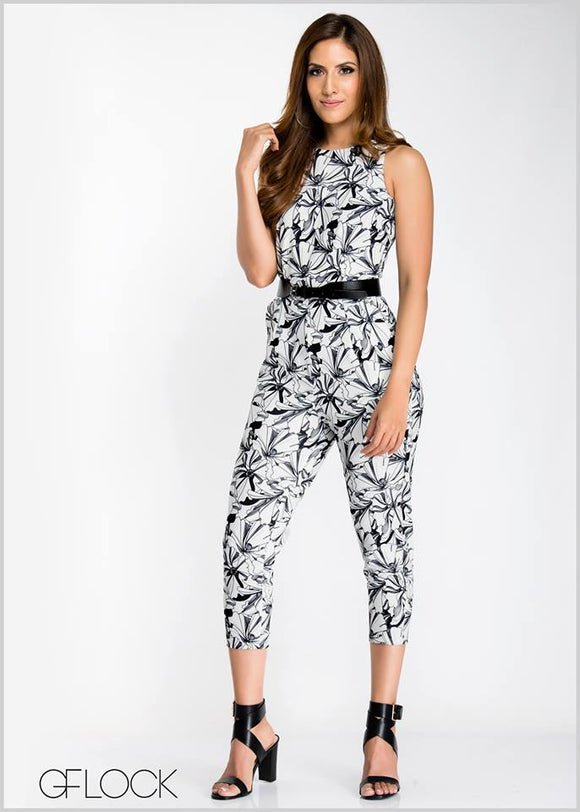 Floral Slant Pocket Jump Suit