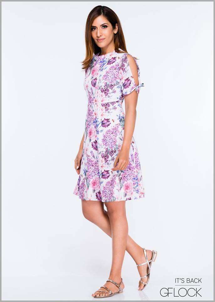 Sleeve Open Detail Floral Dress