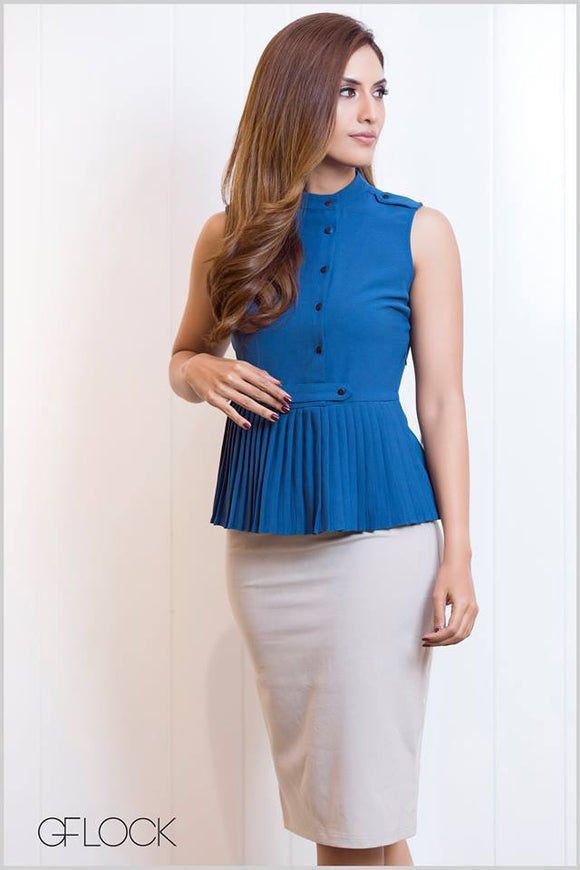 Buttoned Detail Pleated Top