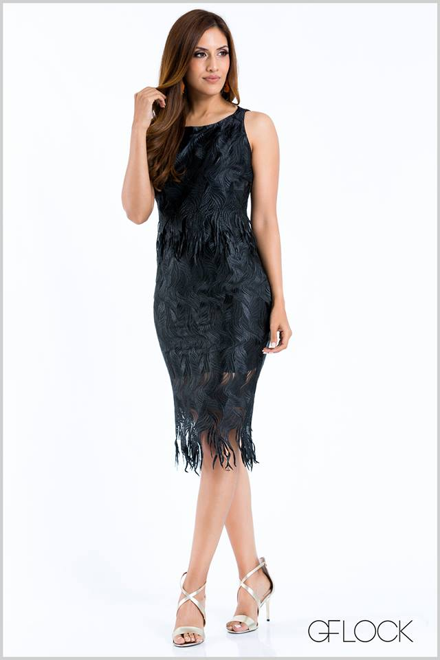 Fringed Body-Con Lace Dress