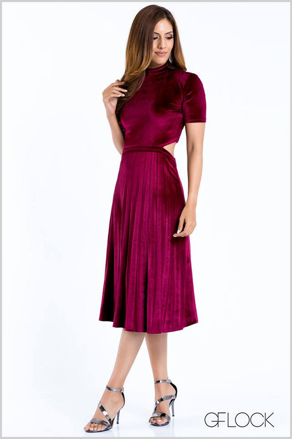 Velvet Pleated Cutaway Dress
