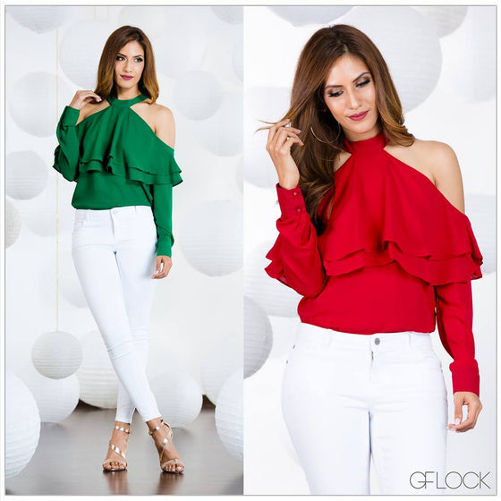 Cold Shoulder Frill Sleeve Top