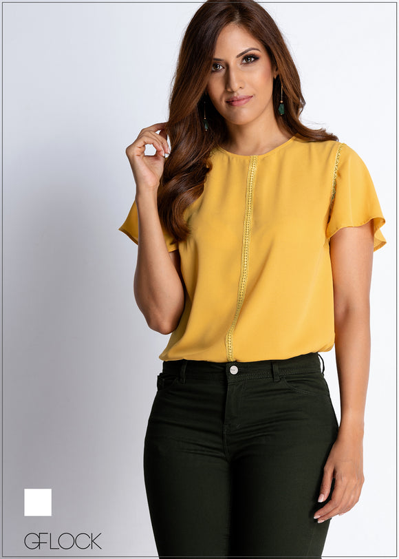 Lace Insert Detail Workwear Top