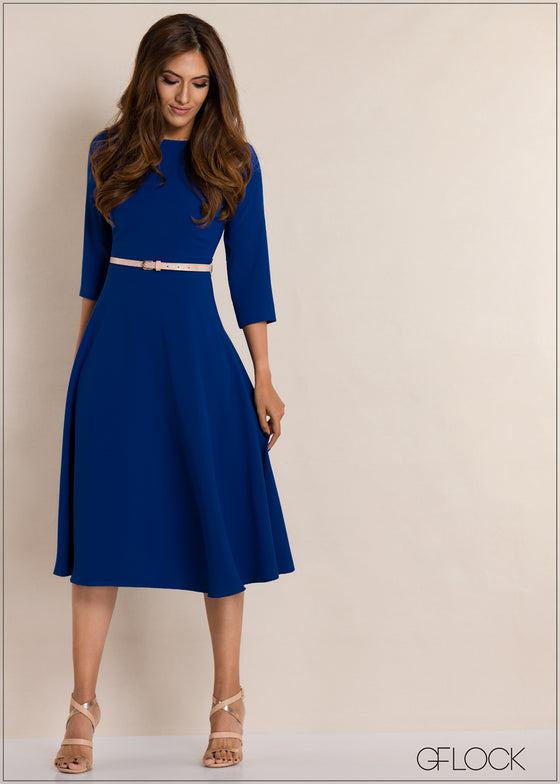 Three Quarter Sleeve Midi Dress