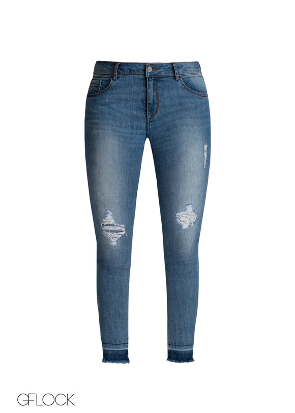 Let Hem Light Washed Ripped Jean - GFLOCK.LK