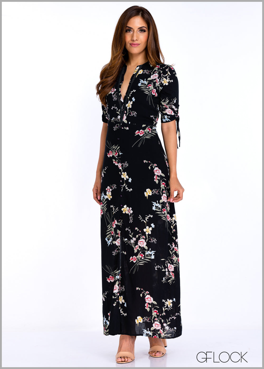 Tie Knot Sleeve Maxi Dress