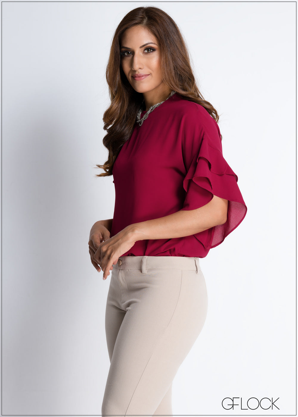 Double Frill Workwear Top