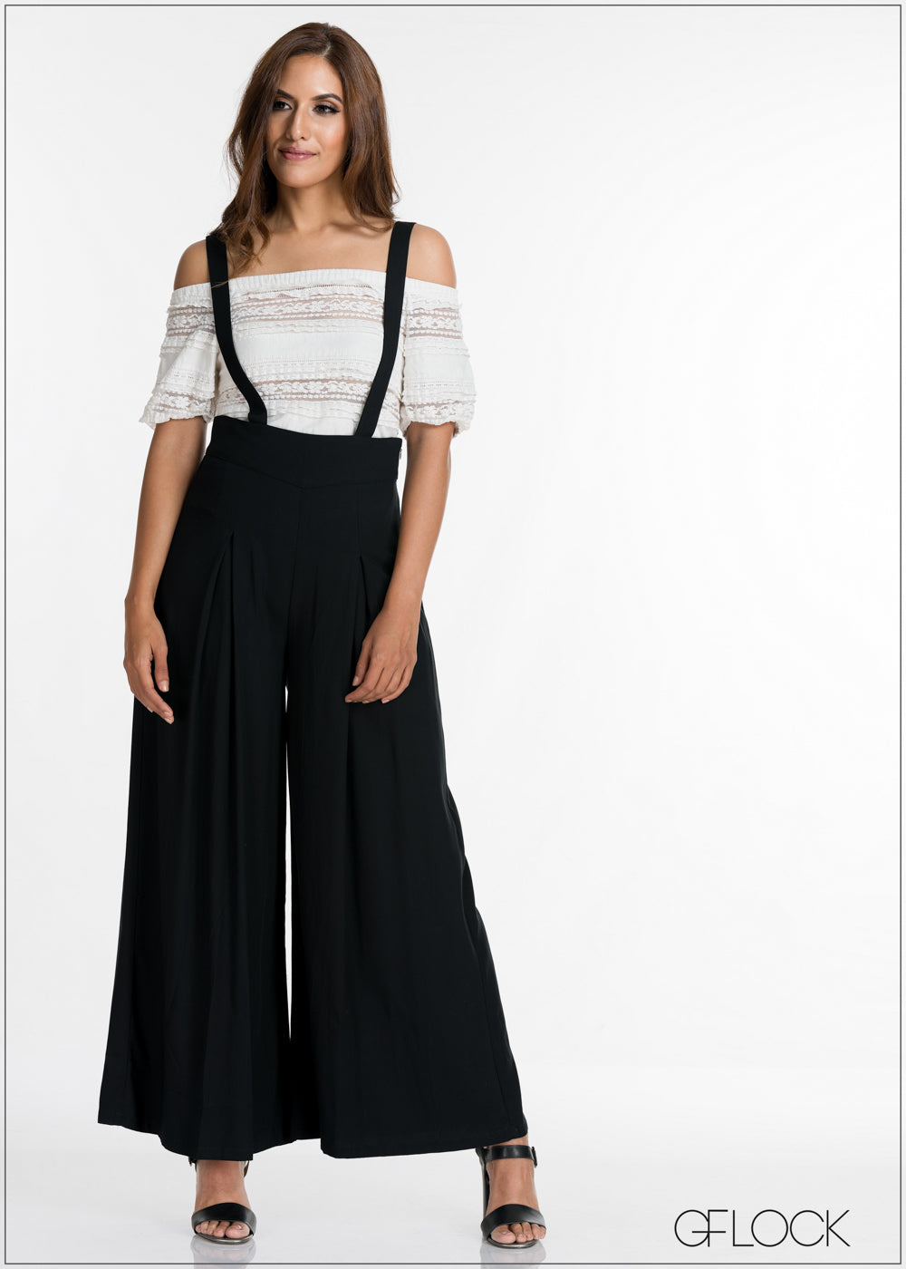 Wide Leg Suspender Pant