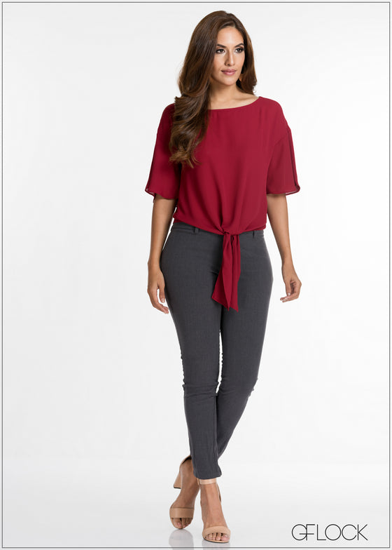 Waist Tie Flair Sleeve Top