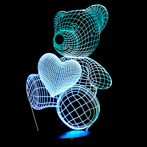 NEW 3D LED Baby Nightlight - Cute Bear with Heart