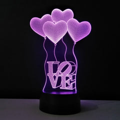 NEW LED 3D Night Light - Hearts
