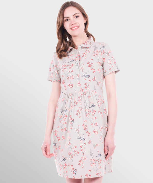 Bird Blossom Shirt Dress