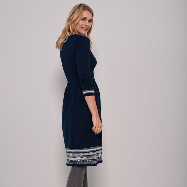 Fitted Fairisle Hem Dress