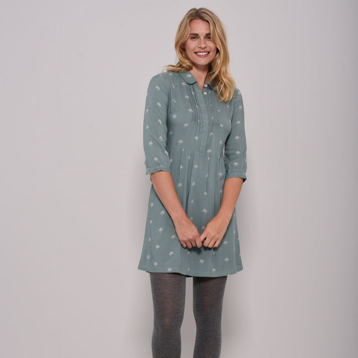 Trees Fitted Shirt Dress