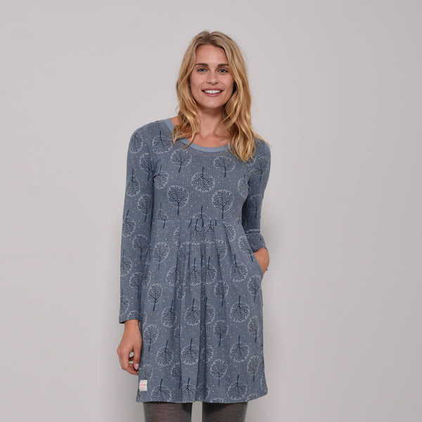 Trees Embroidered Neck Dress