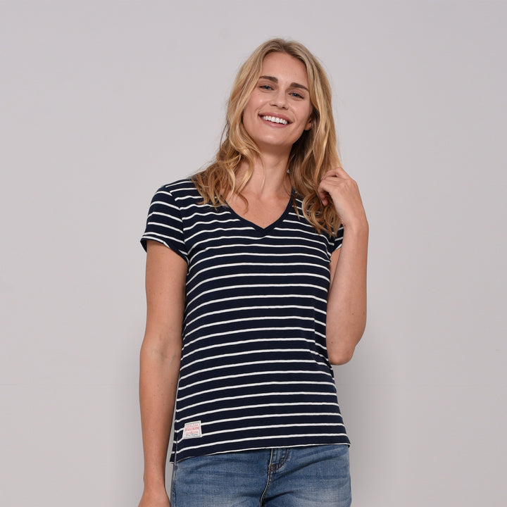 Stripe V Neck Tee