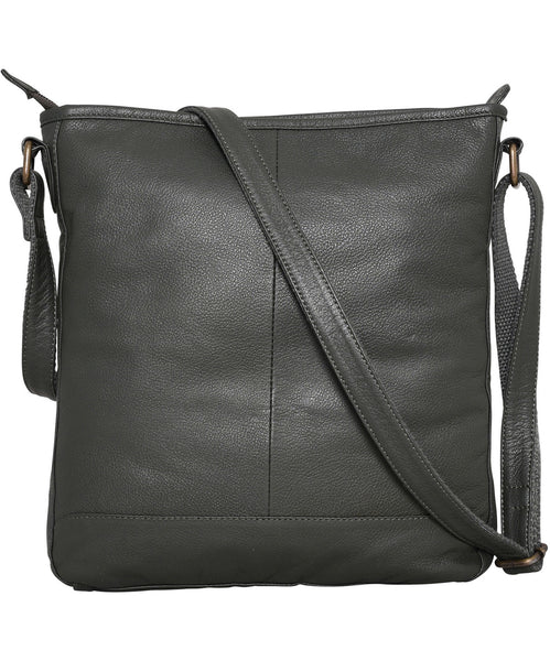 Leather Large Saddle Bag Dark Green