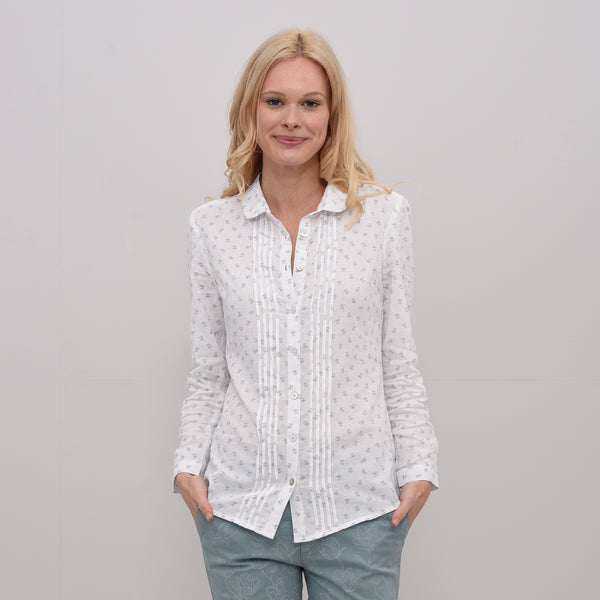 Pleated Dobby Shirt White