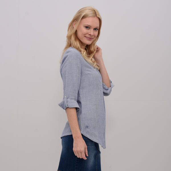 Pleated Popover Blouse Blue
