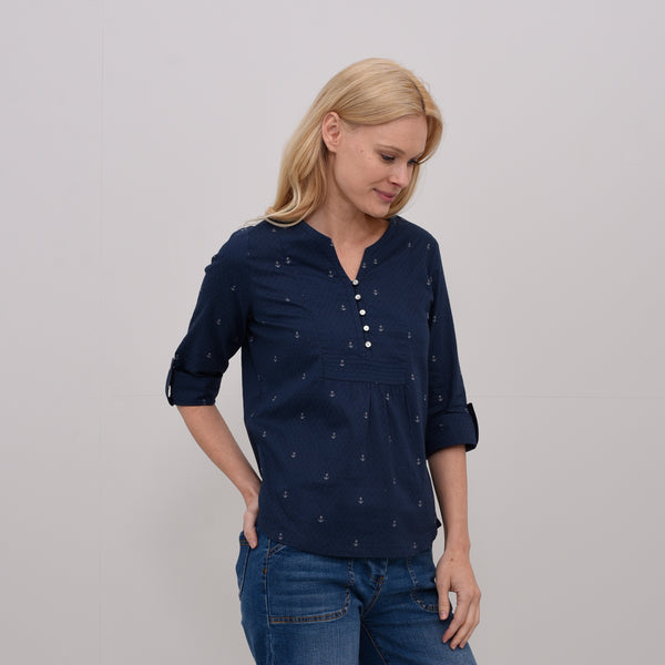 Anchors Pop Over Blouse Navy