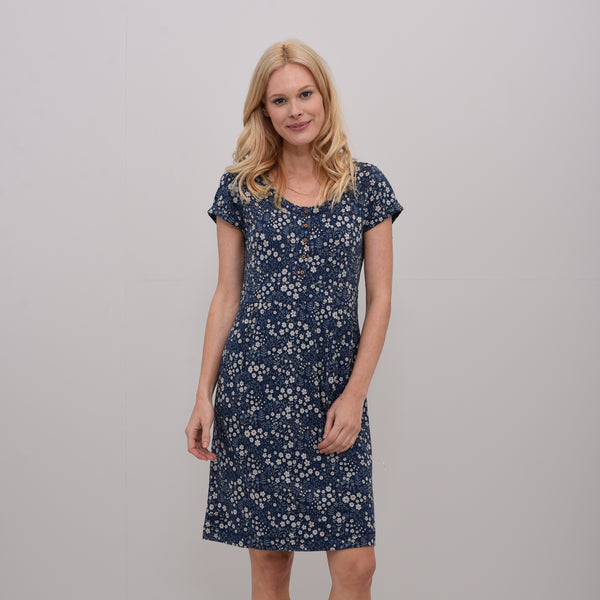 Ditsy Flower Placket Dress