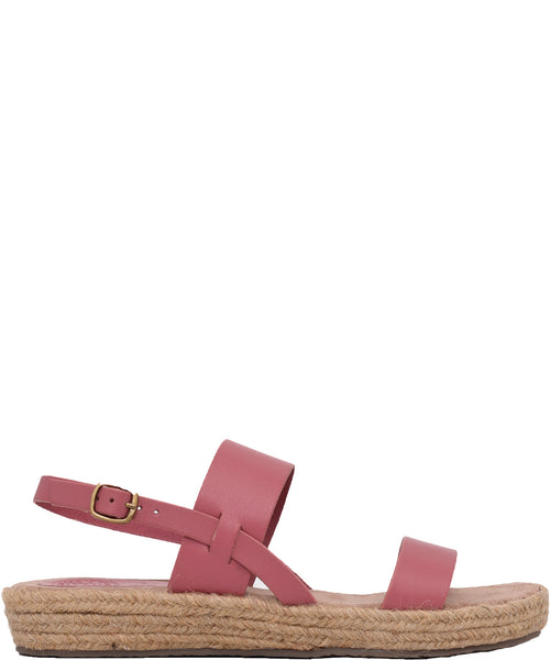 Rafia Sole Leather Sandal Coral