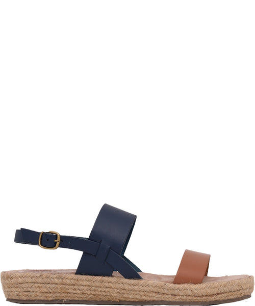 Rafia Sole Leather Sandal Navy & Brown