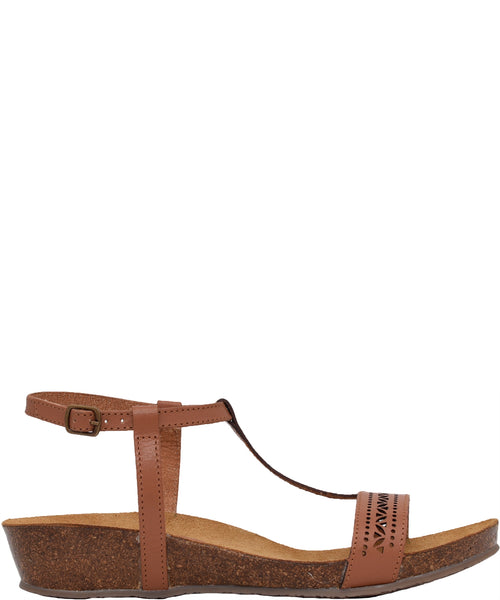 Laser Cut Leather Sandal Tan