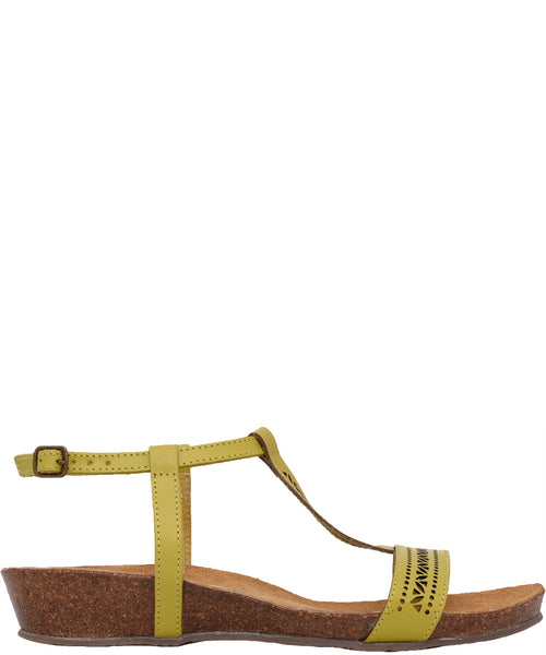 Laser Cut Leather Sandal Mustard