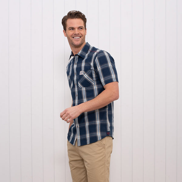 Short Sleeve Check Shirt Navy