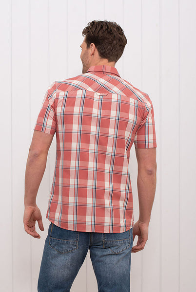 S/S Check Shirt Washed Red