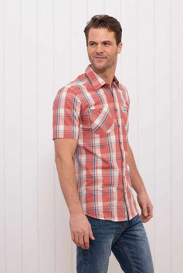 Short Sleeve Check Shirt Red