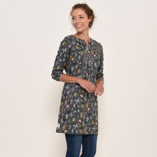 Abstract leaf Woven Tunic