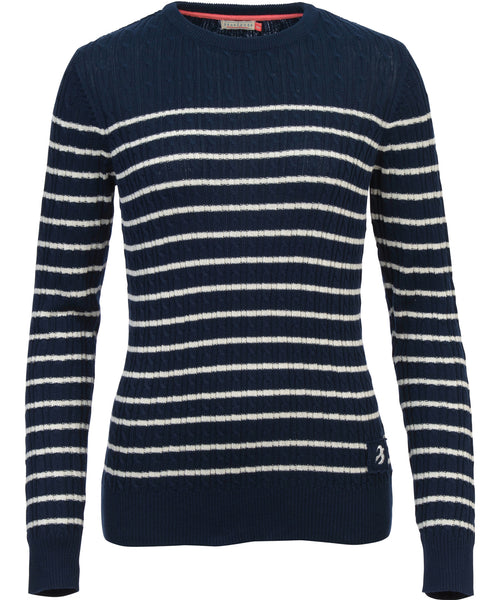 Stripe Cable Jumper Navy