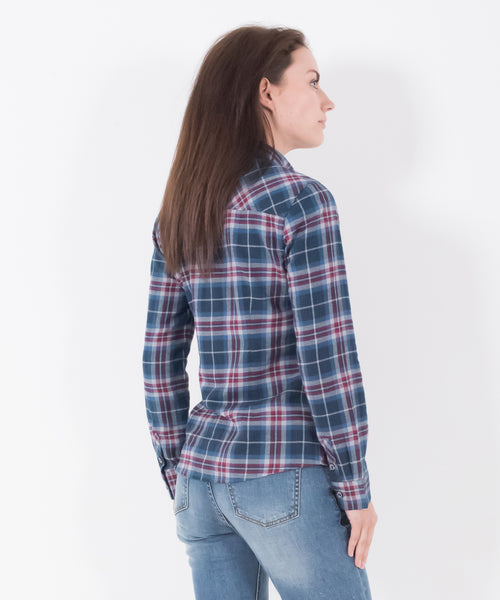 Large Check Flannel Shirt Navy