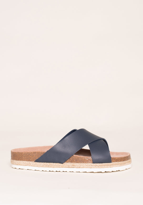 Blue Cross Strap Sandals
