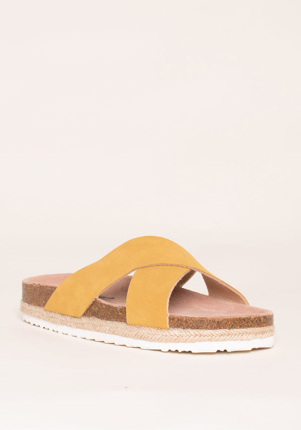Yellow Cross Strap Sandals