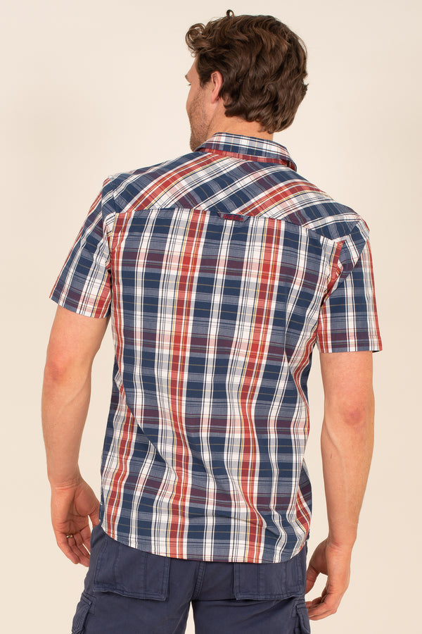 Navy Red Check Shirt
