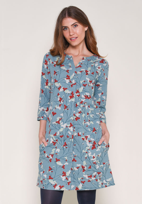 Fanned Flower Shift Dress