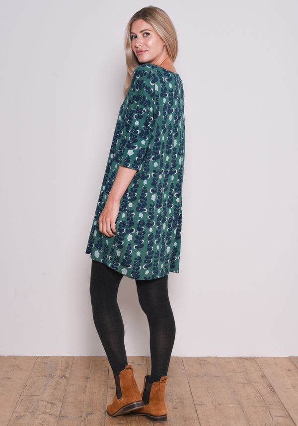 Trailing Flower Jersey Dress