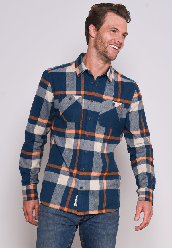 Orange Check Flannel Shirt