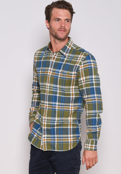 Olive Check Flannel Shirt