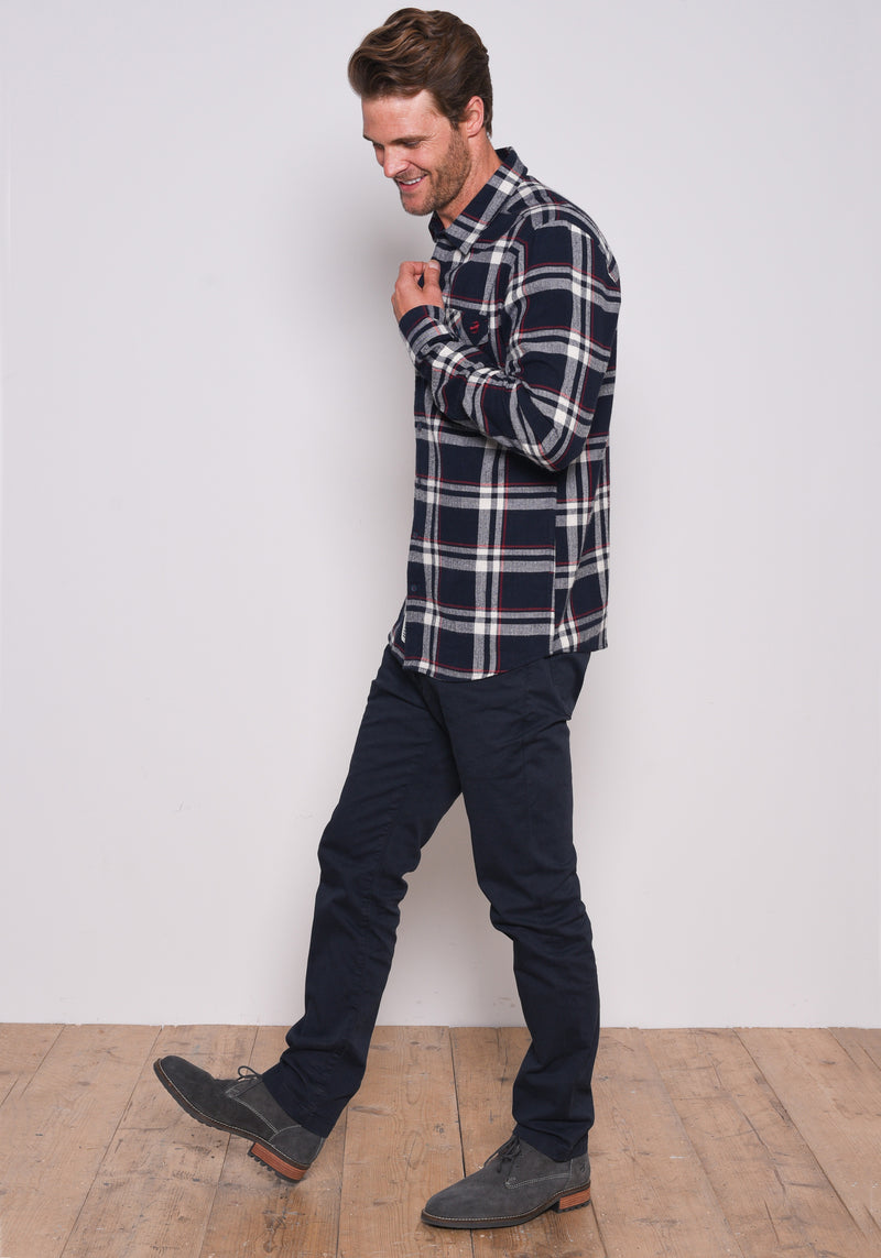 Navy Checked Flannel Shirt