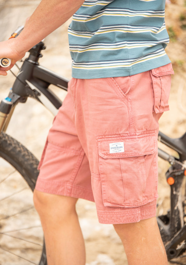 Washed Pink Cargo Shorts