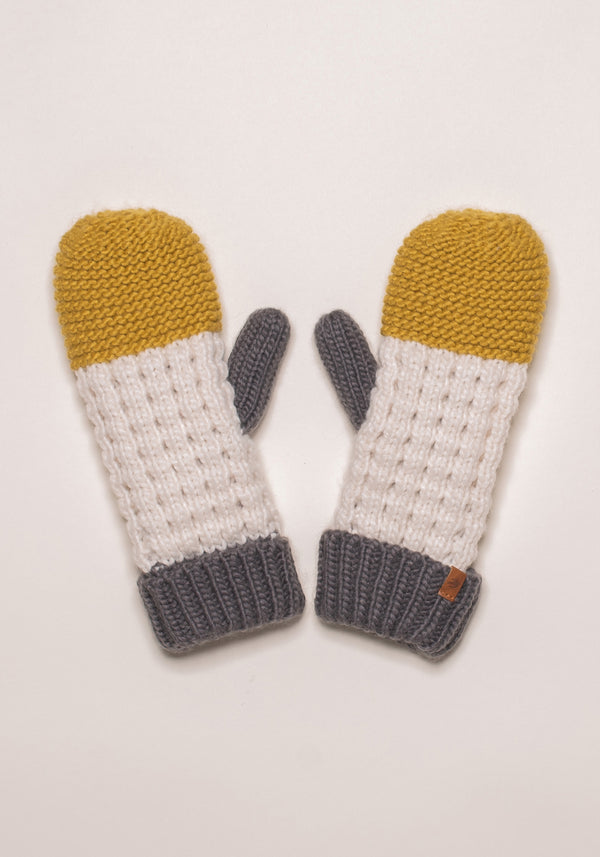 Colour Block Knit Mittens