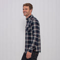 Brushed Flannel Check Shirt Navy