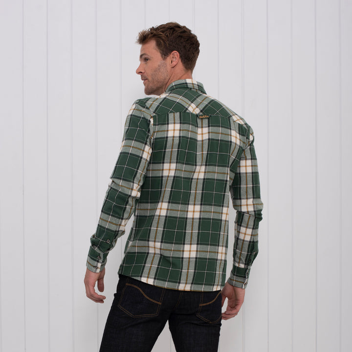 Brushed Flannel Check Shirt Green