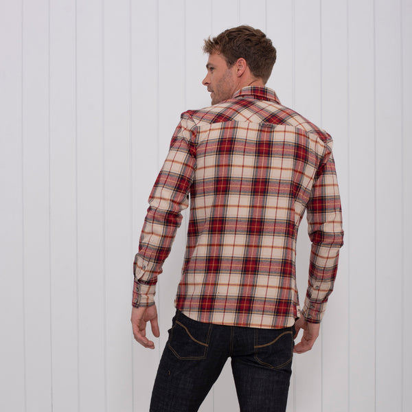 Brushed Flannel Check Shirt - Ecru (red)