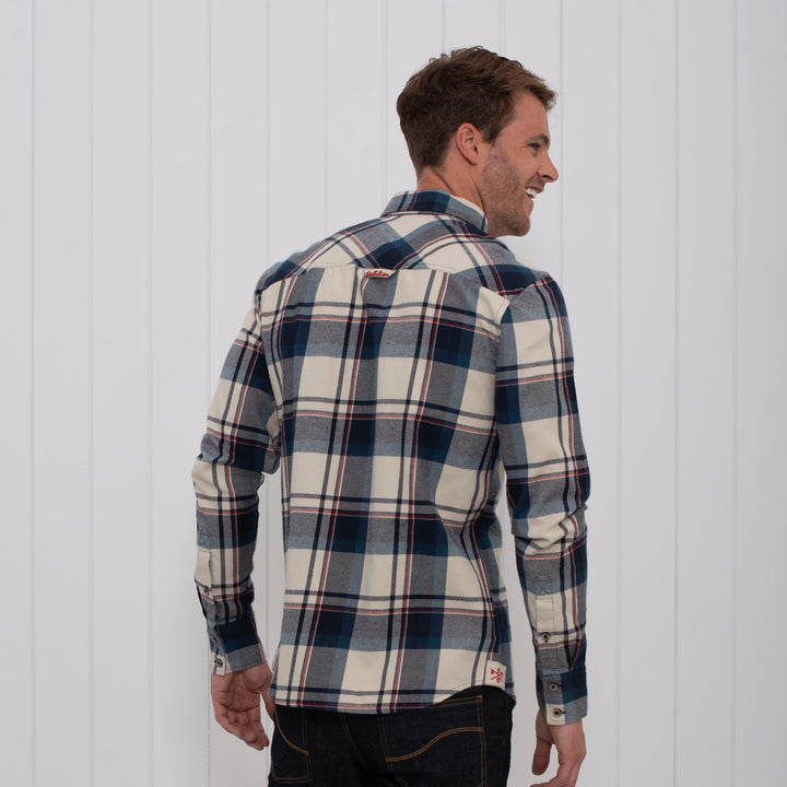 Brushed Flannel Check Shirt Ecru